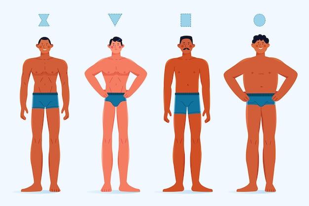 평평한 손으로 그린 유형의 남성 체형