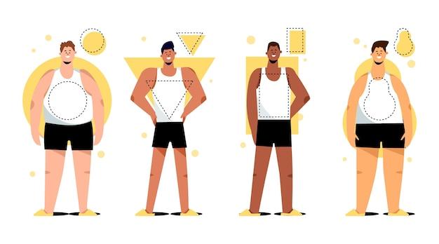 男性の体型のフラット手描きタイプ