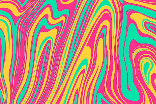 Flat-hand drawn vivid colored groovy background