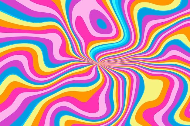 平らな手描きの波状のマルチカラーのグルーヴィーな背景