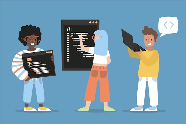 Flat-hand drawn web developers illustration