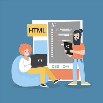 フラット手描きのweb開発者のイラスト