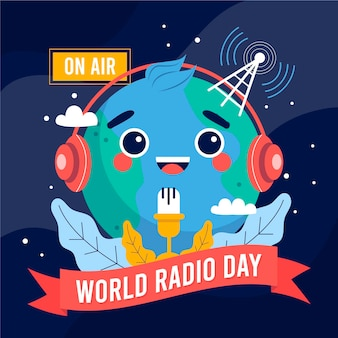 Flat hand drawn world radio day background with planet
