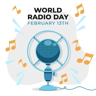 Flat hand drawn world radio day background