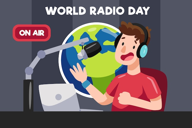 Flat hand drawn world radio day with man