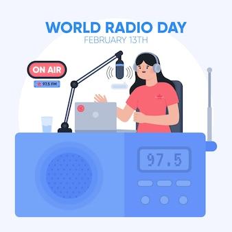 여자와 플랫 손으로 그린 세계 라디오의 날