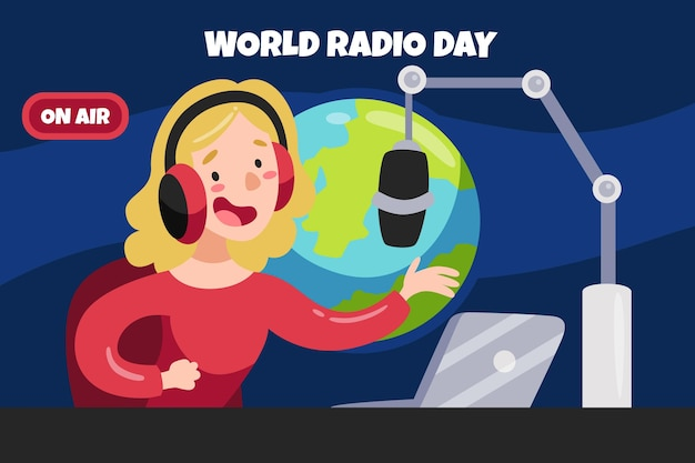 Flat hand drawn world radio day with woman
