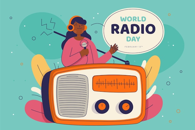 Flat hand drawn world radio day