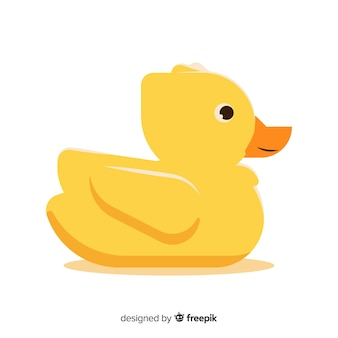 Flat hand drawn yellow rubber duck