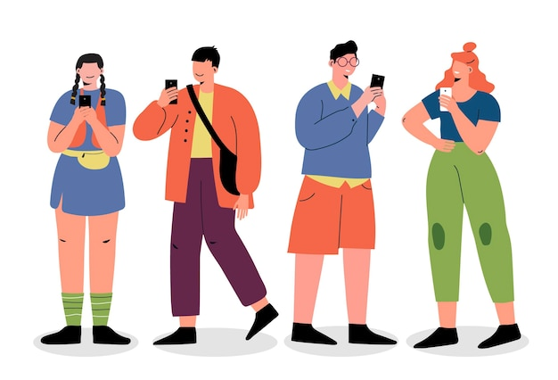Flat-hand drawn young people using smartphones