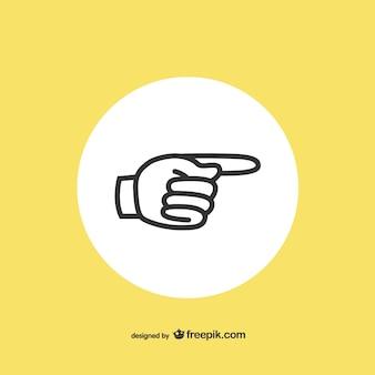 Icona della mano aperta che indica da parte