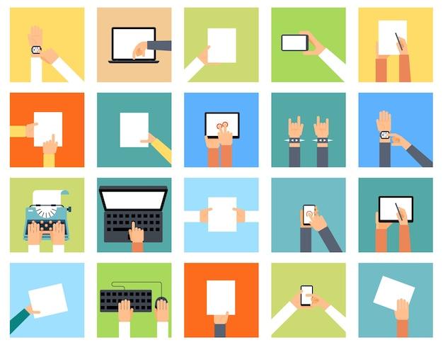 다양한 장치와 손을 잡고 플랫 손 아이콘은 다른 작업을 수행하고 있습니다. 스마트 시계, 노트북 및 종이, 포인팅 컴퓨터, 키보드 및 타자기,