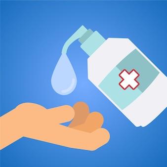 平らな手の消毒剤の概念