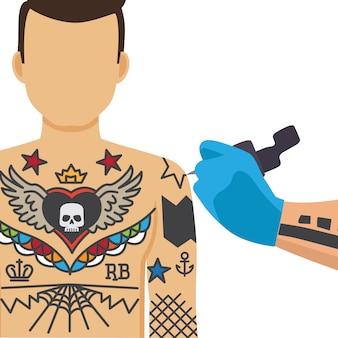 Мальчик татуировки плоской рукой