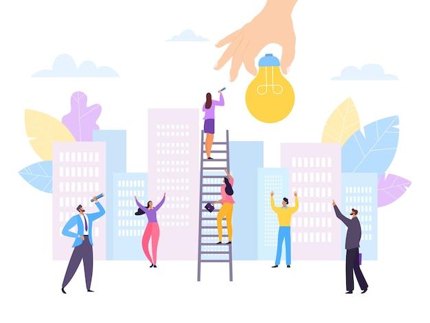 Плоская рука с иллюстрацией идеи успеха
