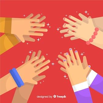 Flat hands applauding background