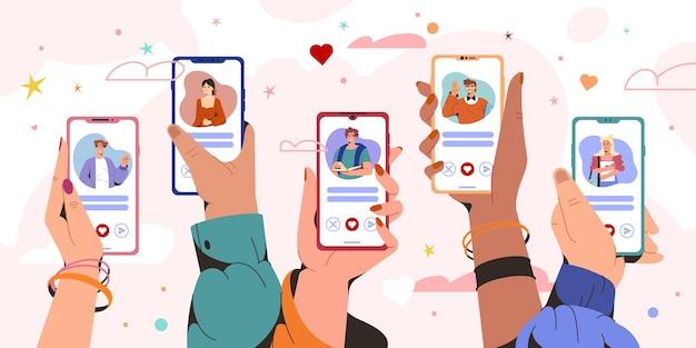 Плоские руки держат смартфоны с профилями мужчины и женщины. приложение службы онлайн-знакомств на экране телефона. виртуальные отношения, общение на расстоянии. люди ищут пару в социальных сетях.