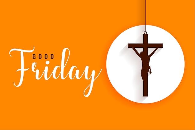 Flat hanging cross good friday greetings