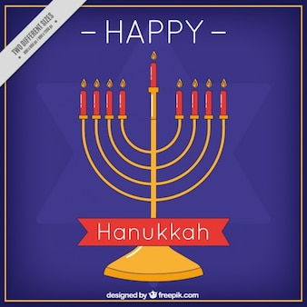 Flat hanukkah background with candelabra and star