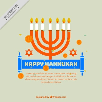 Flat hanukkah background with coins and candelabra
