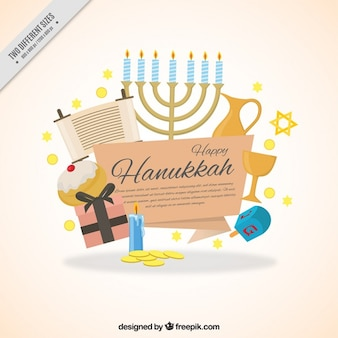 Flat hanukkah background with decorative items