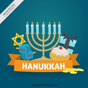 Flat hanukkah background with spinning tops and candelabra