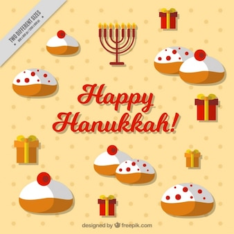 Flat hanukkah background with tasty sweets and gifts