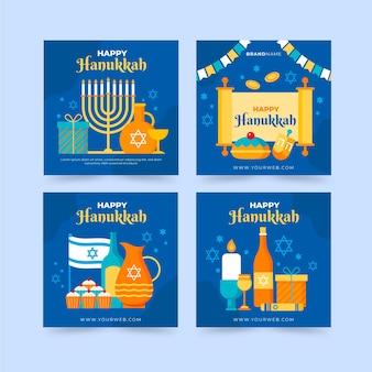 Collezione di post instagram di hanukkah piatta