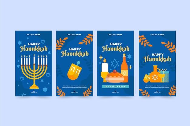 Raccolta di storie piatte su instagram di hanukkah