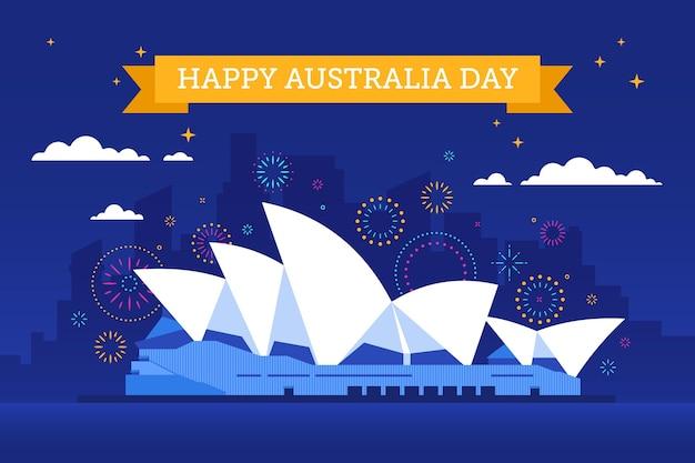 Flat happy australia day boat illustration
