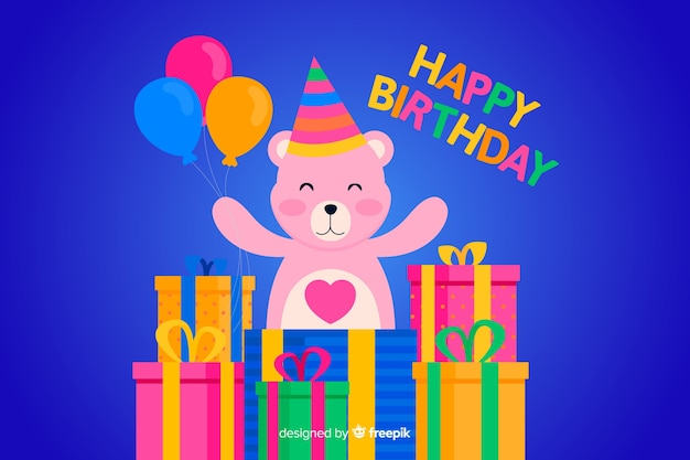 Flat happy birthday background with teddy bear
