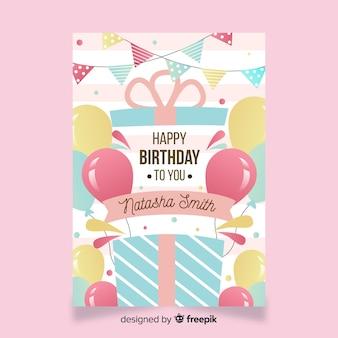Flat happy birthday card template