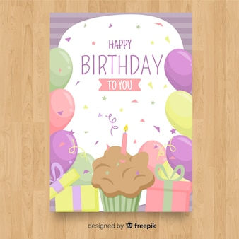 Flat happy birthday card template