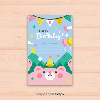Flat happy birthday invitation card