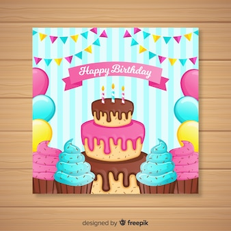 Flat happy birthday invitation card
