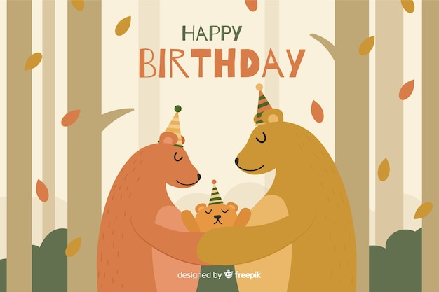 Flat happy birthday party background with bears