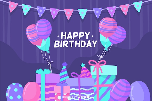 Flat happy birthday party background