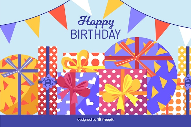 Flat happy birthday party background