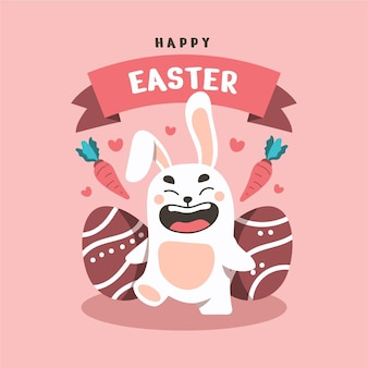 Flat happy bunny in easter day background