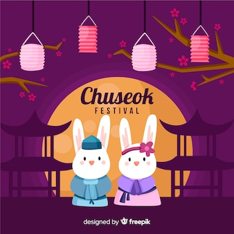Flat happy chuseok festival background