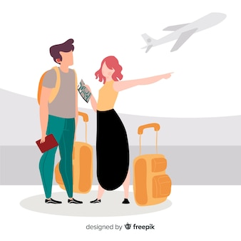Flat happy couple traveling background
