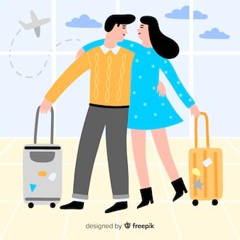 Flat happy couple traveling background