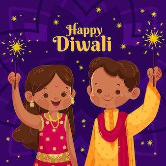 Flat happy diwali cartoon kids