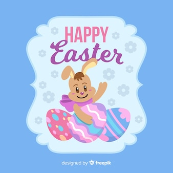 Flat happy easter day background
