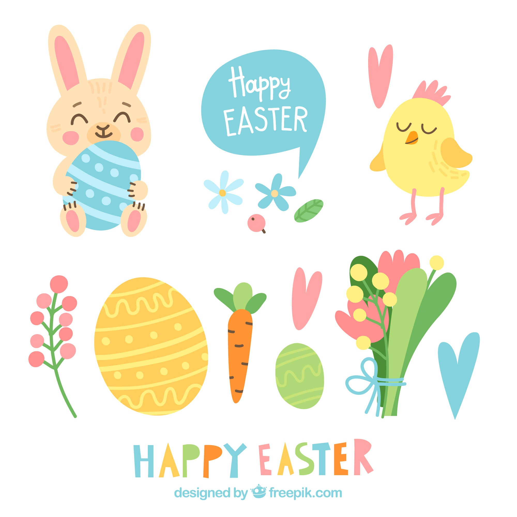 Flat happy easter day elements collection
