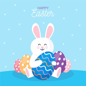 Flat happy easter day wallpaper concept