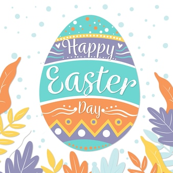Flat happy easter day wallpaper greeting