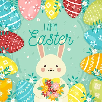 Flat happy easter day wallpaper