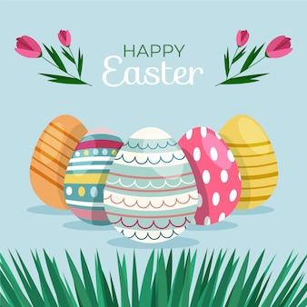 Плоский счастливый пасхальный день с яйцами