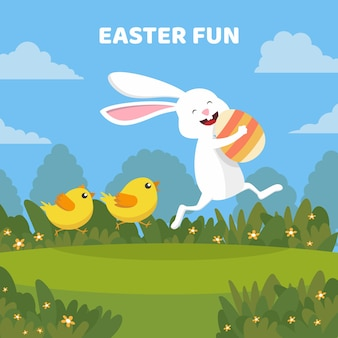 Flat happy easter wallpaper concept
